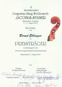 """Preisträger """"Jacobus Stainer"""" 2012 - Bernd Ellinger"""